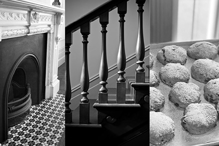 A montage of a fireplace, stairs and scones.