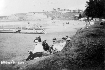 Beachgoers on Browns Bay Beach.