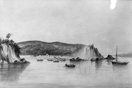Watercolour painting of Tāmaki and the signing of the Treaty of Waitangi by W Jordon, 1840.