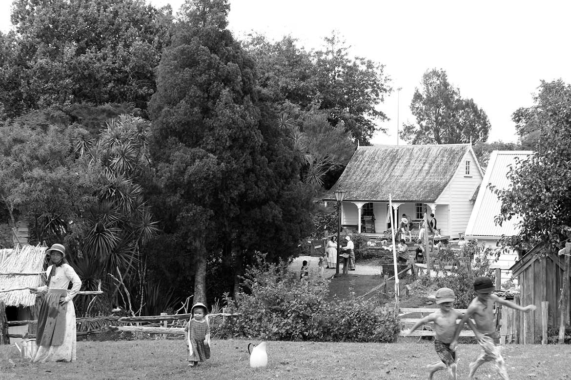 Children playing, 2019, Howick Historical Village.